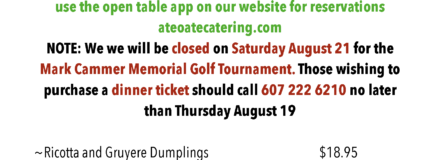 Thursday and Friday August 19 & 20